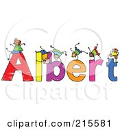 Royalty Free RF Clipart Illustration Of A Childs Sketch Of Boys Playing On The Name Albert
