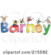 Royalty Free RF Clipart Illustration Of A Childs Sketch Of Boys Playing On The Name Barney