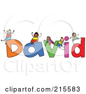 Royalty Free RF Clipart Illustration Of A Childs Sketch Of Boys Playing On The Name David