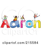 Royalty Free RF Clipart Illustration Of A Childs Sketch Of Boys Playing On The Name Aaron