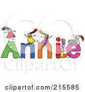 Royalty Free RF Clipart Illustration Of A Childs Sketch Of Girls Playing On The Name Annie