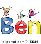 Royalty Free RF Clipart Illustration Of A Childs Sketch Of Boys Playing On The Name Ben