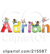 Royalty Free RF Clipart Illustration Of A Childs Sketch Of Boys Playing On The Name Adrian