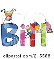 Royalty Free RF Clipart Illustration Of A Childs Sketch Of Boys Playing On The Name Bill