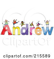 Royalty Free RF Clipart Illustration Of A Childs Sketch Of Boys Playing On The Name Andrew