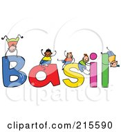 Royalty Free RF Clipart Illustration Of A Childs Sketch Of Boys Playing On The Name Basil