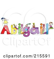 Royalty Free RF Clipart Illustration Of A Childs Sketch Of Girls Playing On The Name Abigail