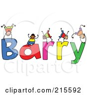 Royalty Free RF Clipart Illustration Of A Childs Sketch Of Boys Playing On The Name Barry