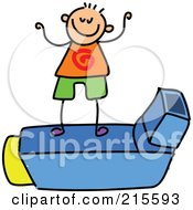 Royalty Free RF Clipart Illustration Of A Childs Sketch Of A Boy On An Asthma Inhaler by Prawny