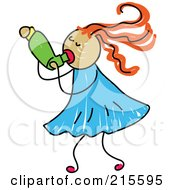 Royalty Free RF Clipart Illustration Of A Childs Sketch Of A Girl Using An Asthma Inhaler