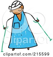 Childs Sketch Of A Kid In A Hospital Gown Head Bandage Using Crutches