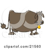 Clipart Illustration Of A Depressed Fat Brown Dairy Cow Wearing A Golden Bell Around Its Neck