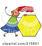 Royalty Free RF Clipart Illustration Of A Childs Sketch Of A Girl Holding A Yellow Hexagon