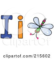 Royalty Free RF Clipart Illustration Of A Childs Sketch Of A Capital And Lowercase Letter I With An Insect