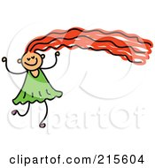 Royalty Free RF Clipart Illustration Of A Childs Sketch Of A Girl With Long Red Hair