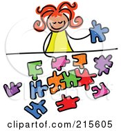 Royalty Free RF Clipart Illustration Of A Childs Sketch Of A Girl Playing With A Puzzle