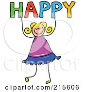 Royalty Free RF Clipart Illustration Of A Childs Sketch Of A Girl Holding HAPPY