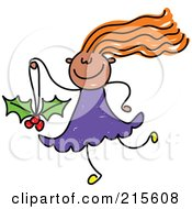 Royalty Free RF Clipart Illustration Of A Childs Sketch Of A Girl Carrying A Holly Christmas Ornament