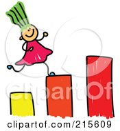 Royalty Free RF Clipart Illustration Of A Childs Sketch Of A Girl Running Up A Bar Graph