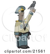 African American Police Officer Standing Tall And Pointing A Pistil Upwards While Shooting To Calm A Crowd