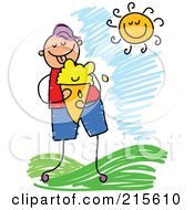 Royalty Free RF Clipart Illustration Of A Childs Sketch Of A Boy Eating Ice Cream Outside by Prawny