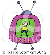 Royalty Free RF Clipart Illustration Of A Childs Sketch Of A Boy On A Tv Screen