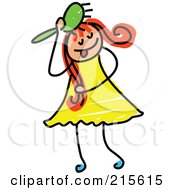 Royalty Free RF Clipart Illustration Of A Childs Sketch Of A Girl Brushing Her Hair
