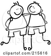 Royalty Free RF Clipart Illustration Of A Childs Sketch Of Black And White Boys With Their Arms Around Each Other by Prawny #COLLC215616-0089