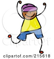Royalty Free RF Clipart Illustration Of A Childs Sketch Of A Boy Celebrating
