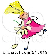 Royalty Free RF Clipart Illustration Of A Childs Sketch Of A Blond Girl Playing He Loves Me He Loves Me Not