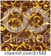 Elegant Yellow Leaves And Vines Scrolling Over A Brown Background