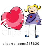 Royalty Free RF Clipart Illustration Of A Childs Sketch Of A Girl Holding A Heart