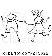Royalty Free RF Clipart Illustration Of A Childs Sketch Of A Black And White Boy And Girl Holding Hands by Prawny #COLLC215622-0089