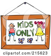 Childs Sketch Of A Kids Only Sign