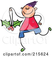 Royalty Free RF Clipart Illustration Of A Childs Sketch Of A Boy With A Holly Ornament by Prawny