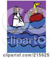 Royalty Free RF Clipart Illustration Of A Childs Sketch Of Jesus Walking On Water by Prawny