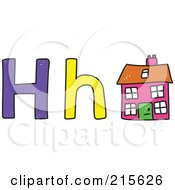 Royalty Free RF Clipart Illustration Of A Childs Sketch Of A Capital And Lowercase Letter H With A House