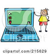 Royalty Free RF Clipart Illustration Of A Childs Sketch Of A Boy Standing By A Laptop by Prawny