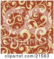 Clipart Illustration Of An Elegant Background Of Scrolling Orange Vines And Leaves Over Darker Orange by OnFocusMedia