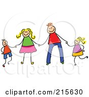Royalty Free RF Clipart Illustration Of A Childs Sketch Of A Happy Family Holding Hands