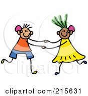 Royalty Free RF Clipart Illustration Of A Childs Sketch Of A Boy And Girl With Hearing Aids