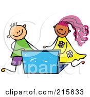 Royalty Free RF Clipart Illustration Of A Childs Sketch Of A Boy And Girl Using A Laptop by Prawny