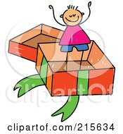 Royalty Free RF Clipart Illustration Of A Childs Sketch Of A Boy In A Big Gift Box by Prawny