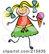 Royalty Free RF Clipart Illustration Of A Childs Sketch Of A Blond Girl Holding A Strawberry Waffle Cone by Prawny