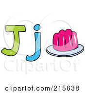 Royalty Free RF Clipart Illustration Of A Childs Sketch Of A Capital And Lowercase Letter J With Jelly