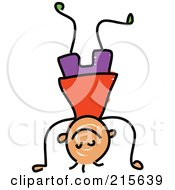 Royalty Free RF Clipart Illustration Of A Childs Sketch Of A Boy Doing A Hand Stand