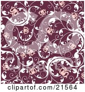 Floral Background Of Blooming Pink Flowers On Elegant White Vines Over Red