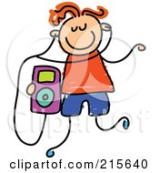 Royalty Free RF Clipart Illustration Of A Childs Sketch Of A Boy Listening To An Ipod