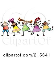 Royalty Free RF Clipart Illustration Of A Childs Sketch Of Boys And Girls Holding Hands 4 by Prawny #COLLC215641-0089