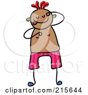 Royalty Free RF Clipart Illustration Of A Childs Sketch Of A Boy Itching Green Spots